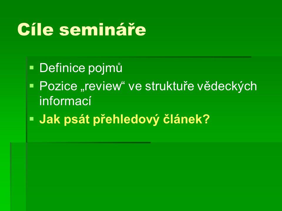 Cíle semináře Definice pojmů