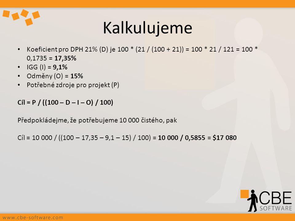 Kalkulujeme Koeficient pro DPH 21% (D) je 100 * (21 / (100 + 21)) = 100 * 21 / 121 = 100 * 0,1735 = 17,35%