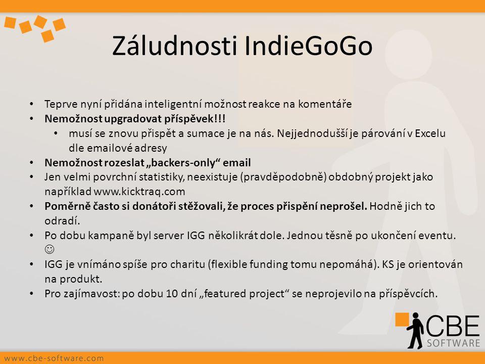 Záludnosti IndieGoGo Teprve nyní přidána inteligentní možnost reakce na komentáře. Nemožnost upgradovat příspěvek!!!