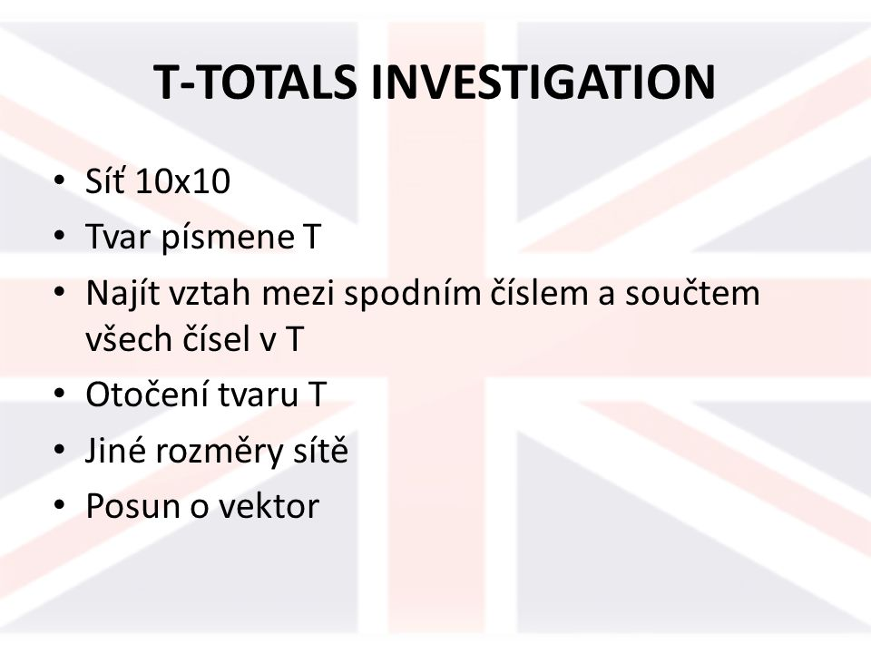 T-TOTALS INVESTIGATION