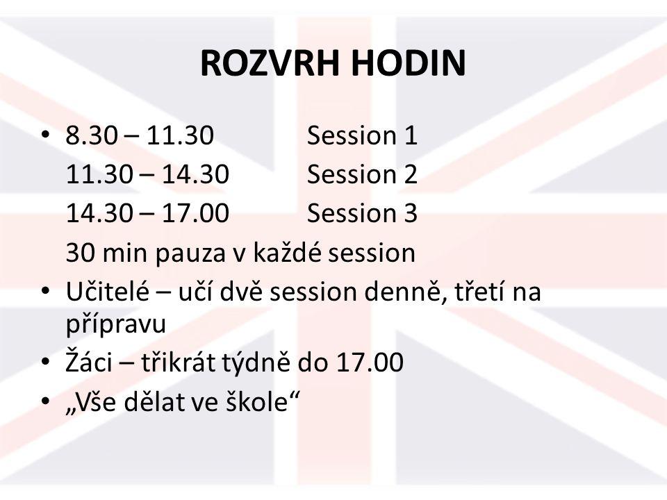 ROZVRH HODIN 8.30 – 11.30 Session 1 11.30 – 14.30 Session 2