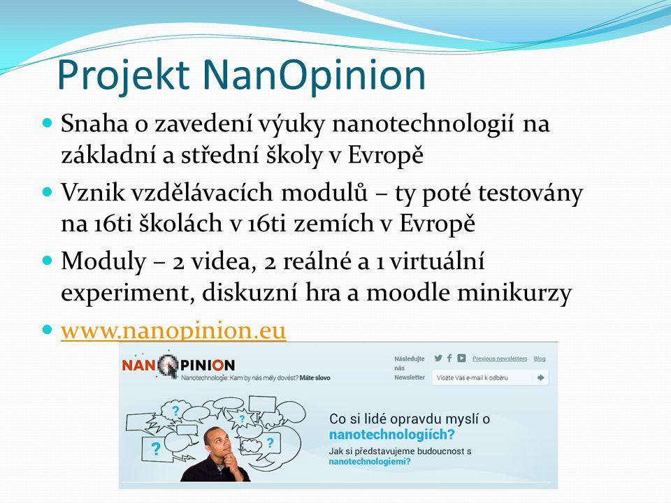 Projekt NanOpinion Snaha o zavedení výuky nanotechnologií na základní a střední školy v Evropě.