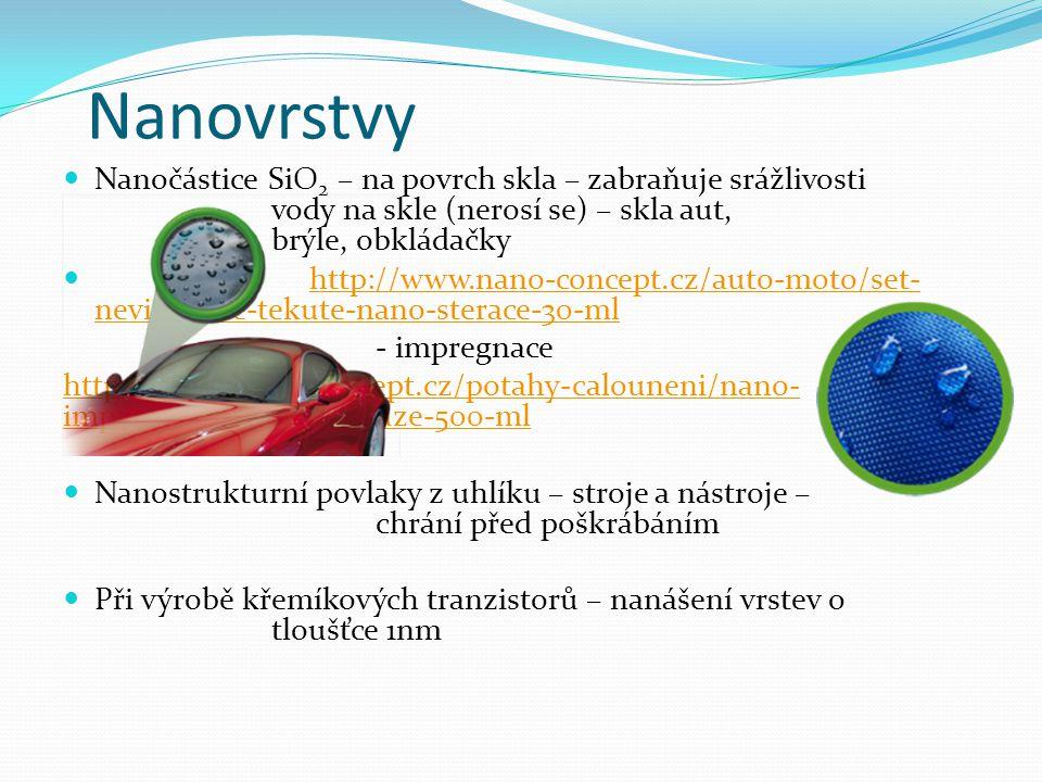 Nanovrstvy Nanočástice SiO2 – na povrch skla – zabraňuje srážlivosti vody na skle (nerosí se) – skla aut, brýle, obkládačky.