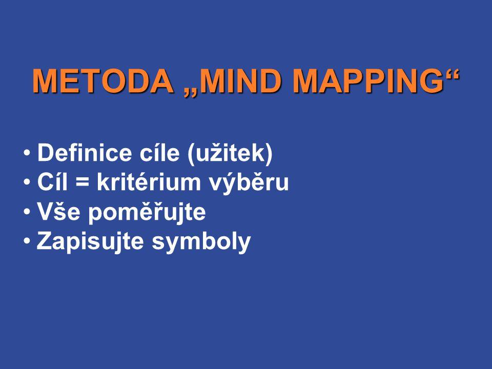 """METODA """"MIND MAPPING Definice cíle (užitek) Cíl = kritérium výběru"""