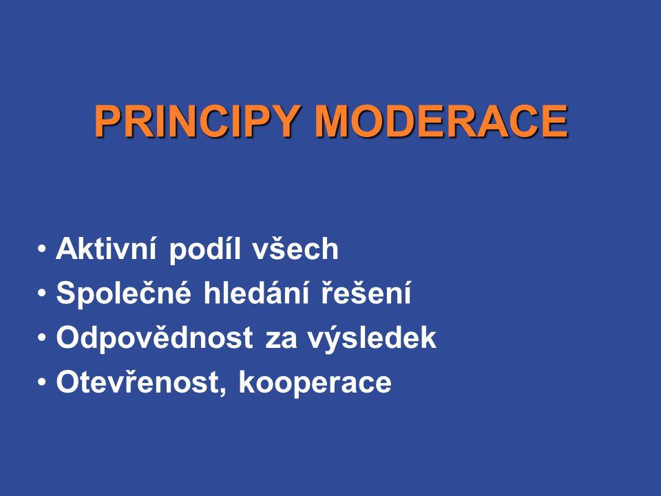 PRINCIPY MODERACE Aktivní podíl všech Společné hledání řešení