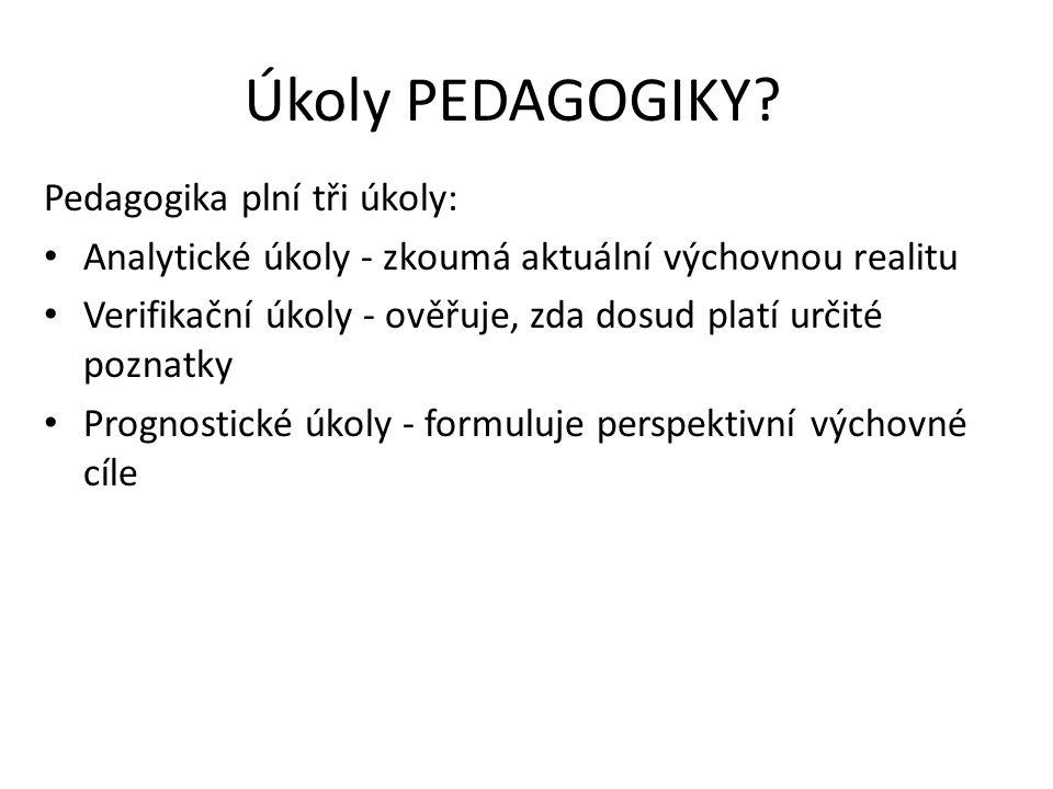 Úkoly PEDAGOGIKY Pedagogika plní tři úkoly:
