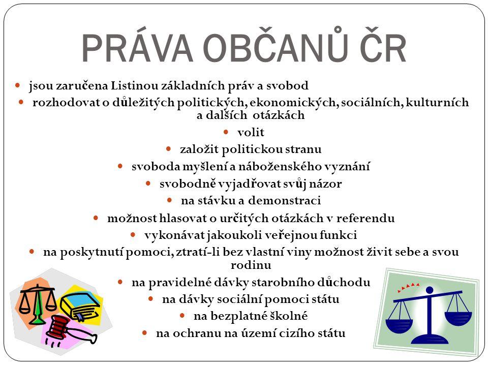 PRÁVA OBČANŮ ČR jsou zaručena Listinou základních práv a svobod