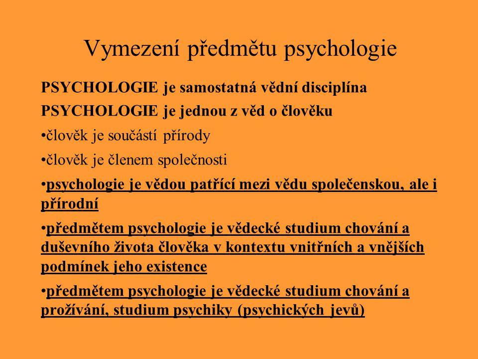 Vymezení předmětu psychologie