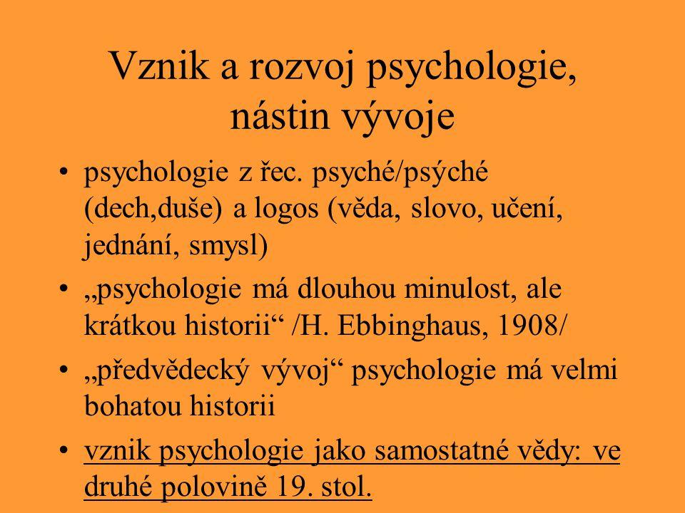 Vznik a rozvoj psychologie, nástin vývoje