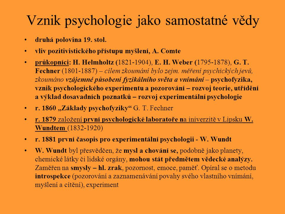 Vznik psychologie jako samostatné vědy