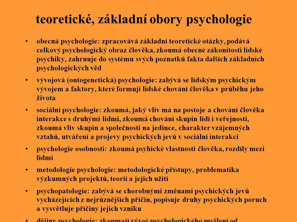 teoretické, základní obory psychologie