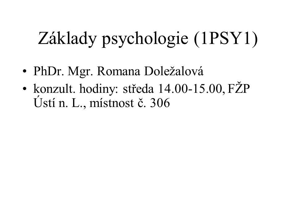 Základy psychologie (1PSY1)