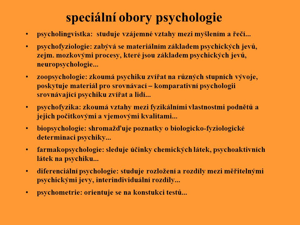 speciální obory psychologie