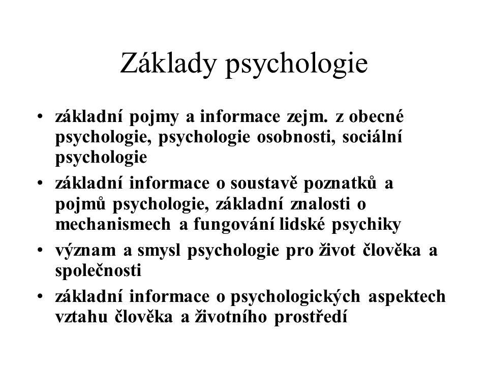 Základy psychologie základní pojmy a informace zejm. z obecné psychologie, psychologie osobnosti, sociální psychologie.