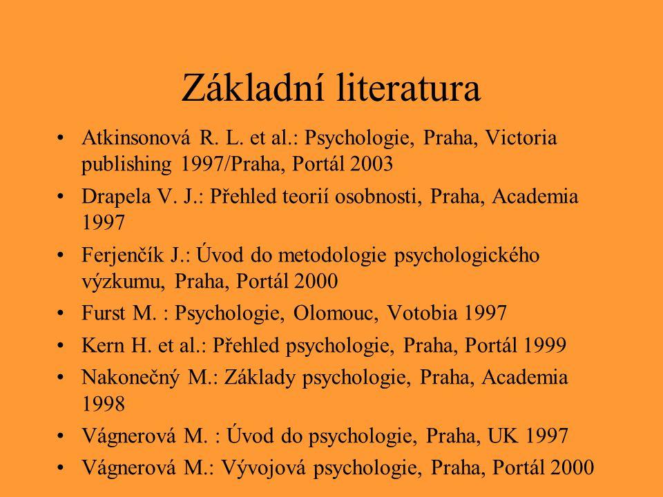 Základní literatura Atkinsonová R. L. et al.: Psychologie, Praha, Victoria publishing 1997/Praha, Portál 2003.