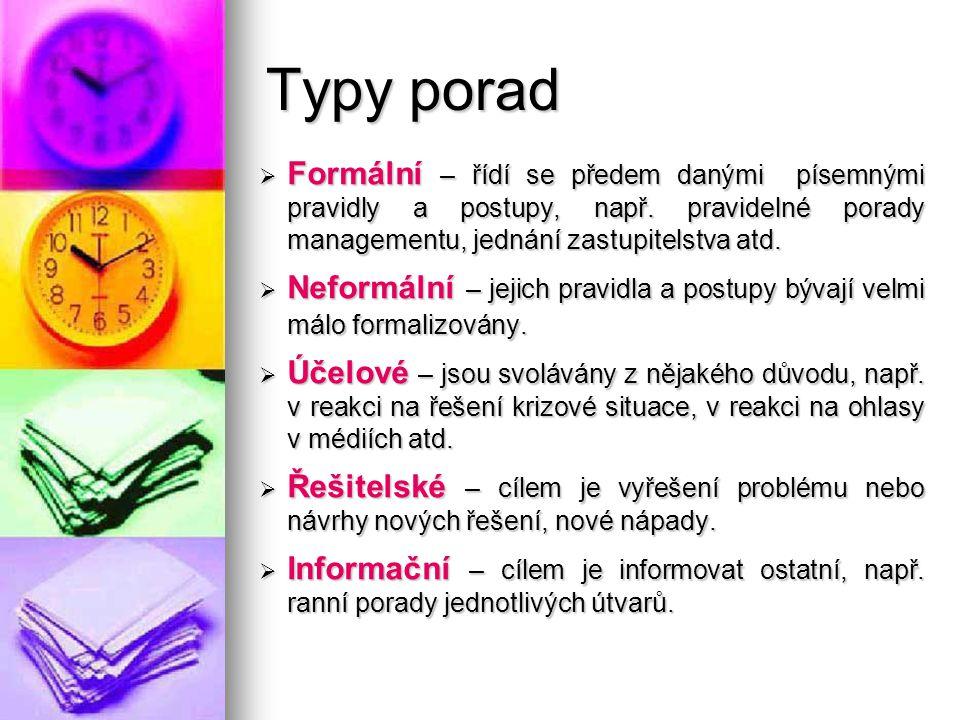 Typy porad Formální – řídí se předem danými písemnými pravidly a postupy, např. pravidelné porady managementu, jednání zastupitelstva atd.