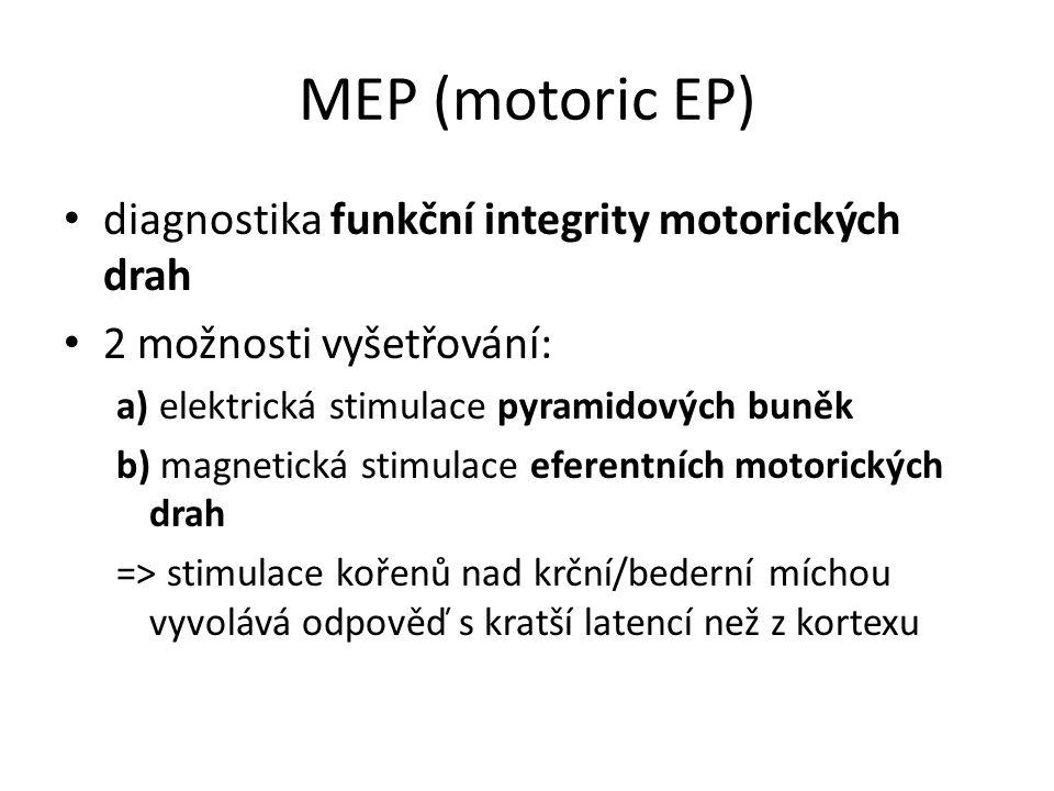 MEP (motoric EP) diagnostika funkční integrity motorických drah