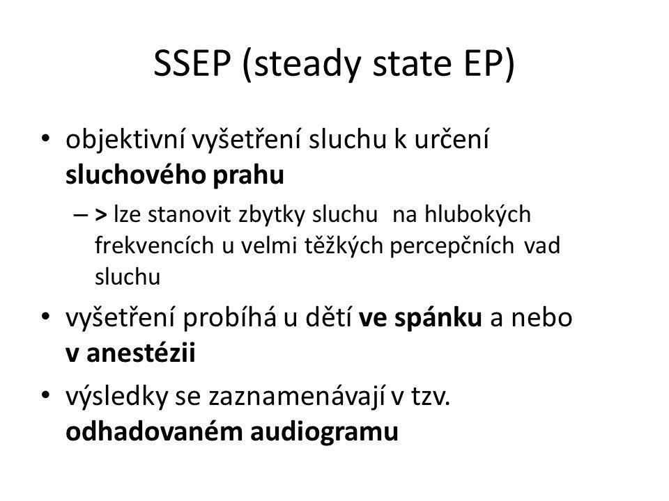 SSEP (steady state EP) objektivní vyšetření sluchu k určení sluchového prahu.