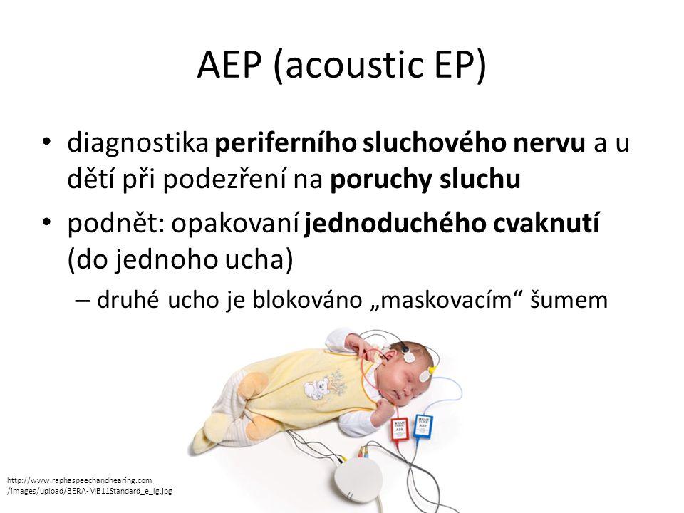 AEP (acoustic EP) diagnostika periferního sluchového nervu a u dětí při podezření na poruchy sluchu.