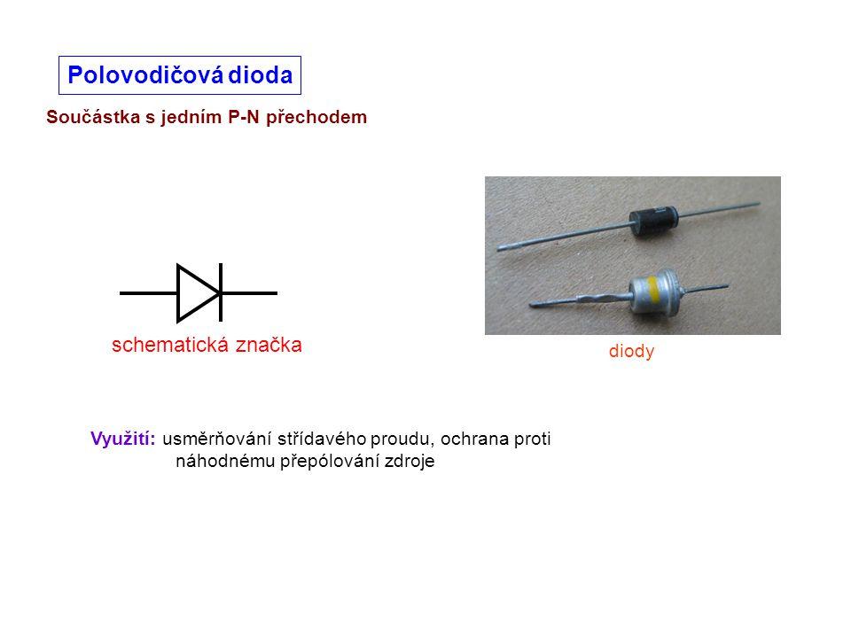 Polovodičová dioda schematická značka Součástka s jedním P-N přechodem