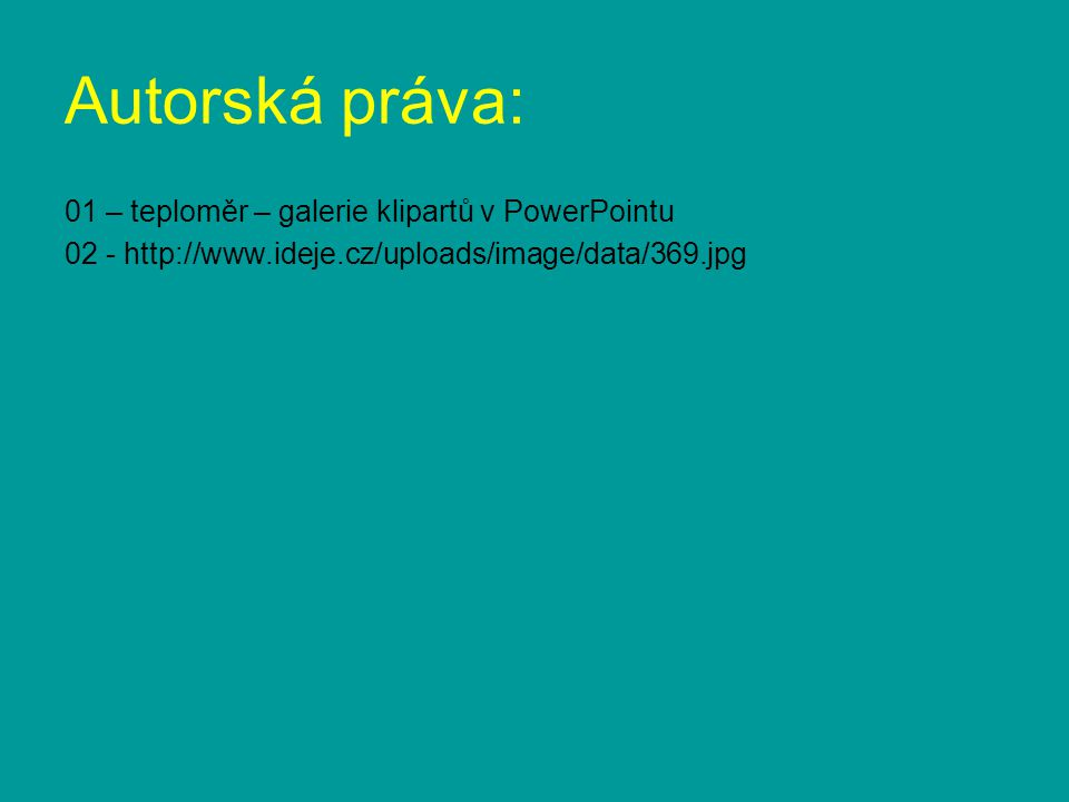 Autorská práva: 01 – teploměr – galerie klipartů v PowerPointu