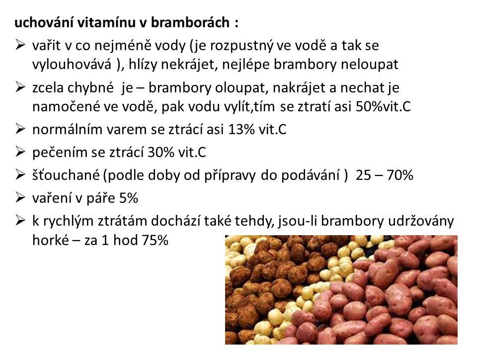 uchování vitamínu v bramborách :