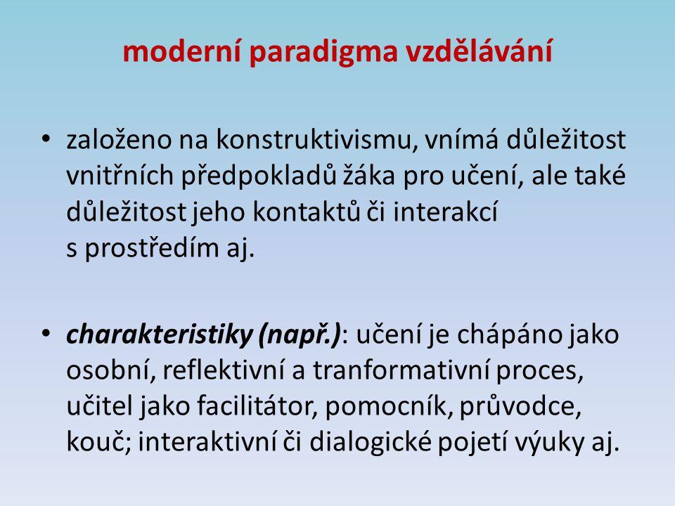 moderní paradigma vzdělávání