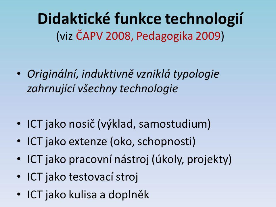Didaktické funkce technologií (viz ČAPV 2008, Pedagogika 2009)
