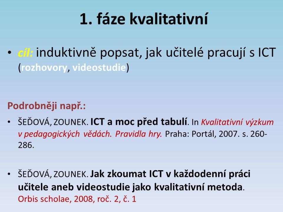 1. fáze kvalitativní cíl: induktivně popsat, jak učitelé pracují s ICT (rozhovory, videostudie) Podrobněji např.: