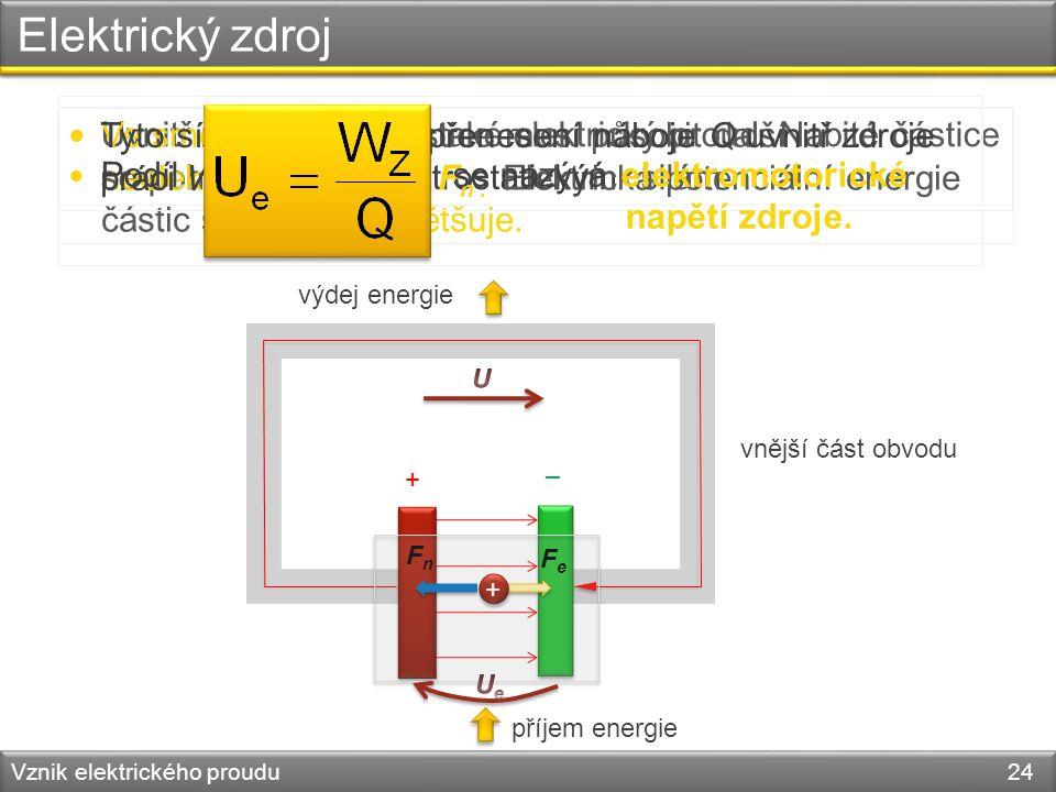 Elektrický zdroj Podíl se nazývá elektromotorické napětí zdroje.