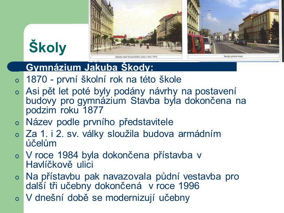 Školy Gymnázium Jakuba Škody: 1870 - první školní rok na této škole