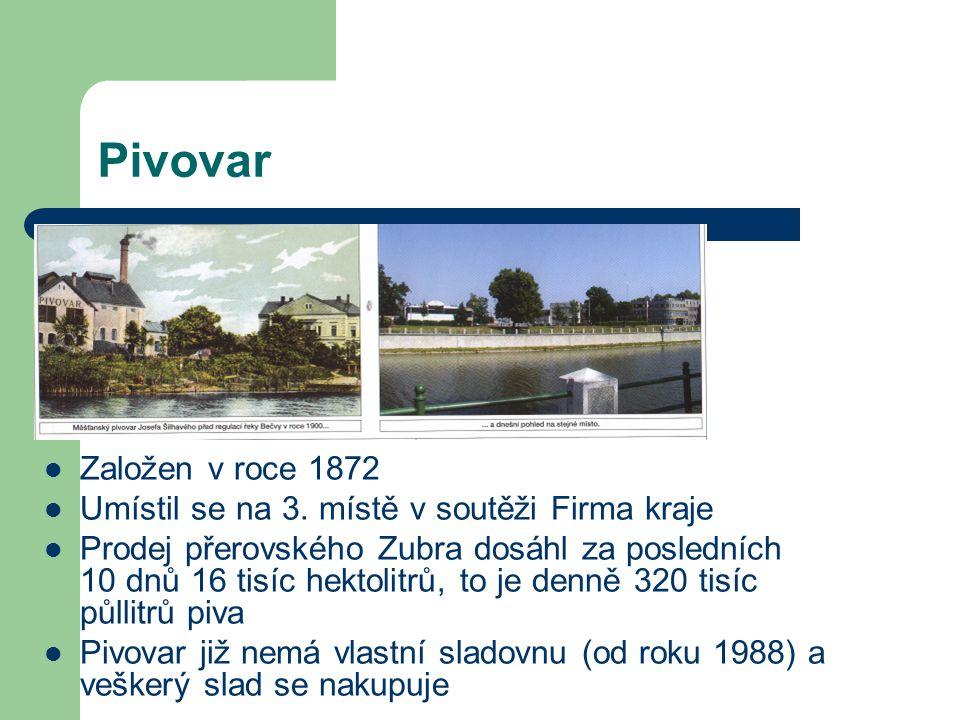 Pivovar Založen v roce 1872. Umístil se na 3. místě v soutěži Firma kraje.