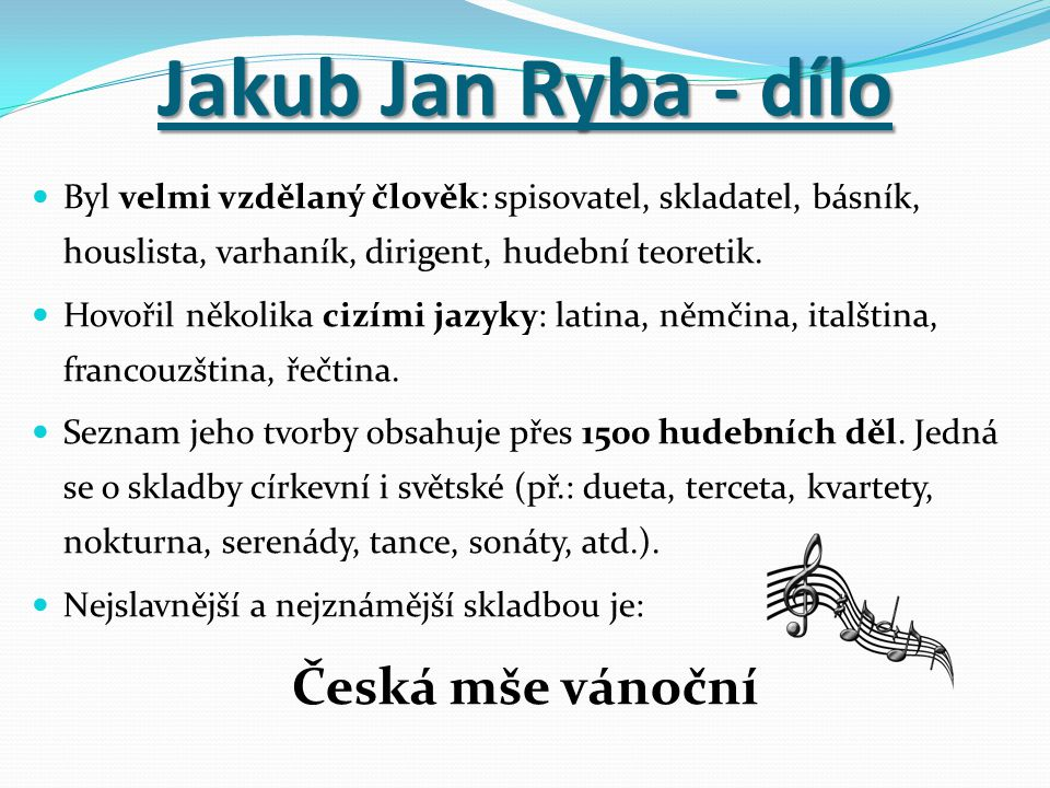 Jakub Jan Ryba - dílo Česká mše vánoční