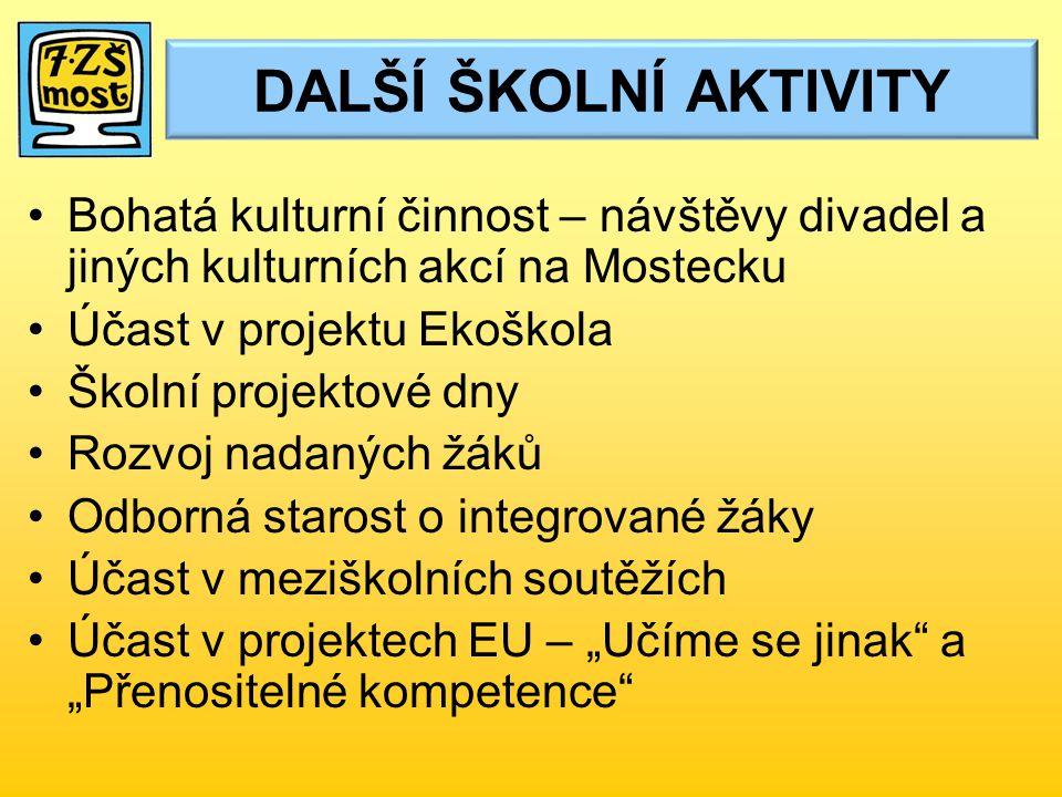 DALŠÍ ŠKOLNÍ AKTIVITY Bohatá kulturní činnost – návštěvy divadel a jiných kulturních akcí na Mostecku.