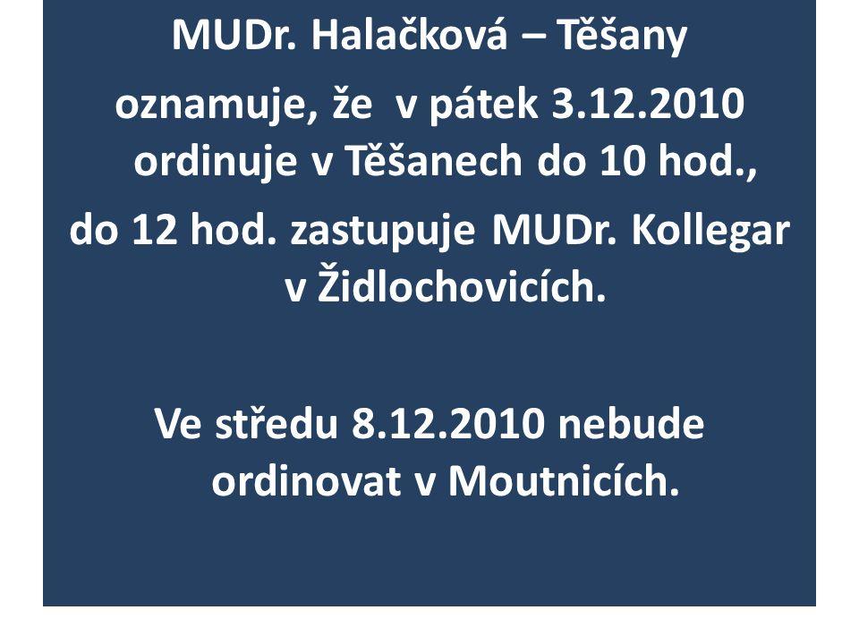 MUDr. Halačková – Těšany oznamuje, že v pátek 3. 12