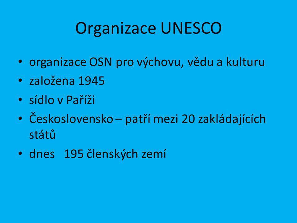 Organizace UNESCO organizace OSN pro výchovu, vědu a kulturu