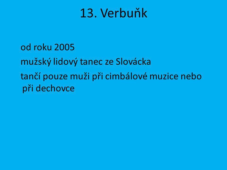 13. Verbuňk od roku 2005 mužský lidový tanec ze Slovácka