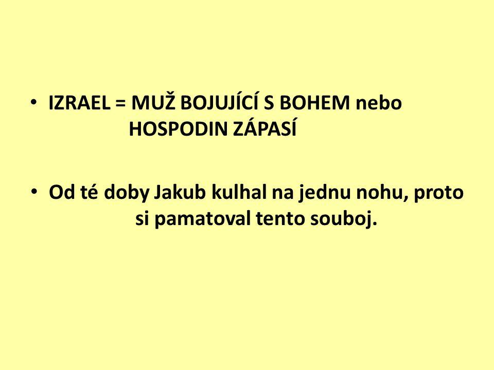 IZRAEL = MUŽ BOJUJÍCÍ S BOHEM nebo HOSPODIN ZÁPASÍ