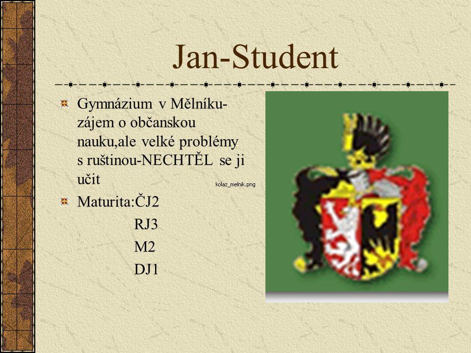 Jan-Student Gymnázium v Mělníku-zájem o občanskou nauku,ale velké problémy s ruštinou-NECHTĚL se ji učit.
