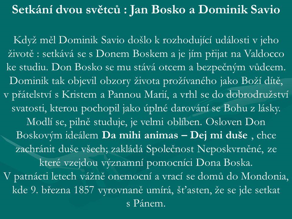 Setkání dvou světců : Jan Bosko a Dominik Savio