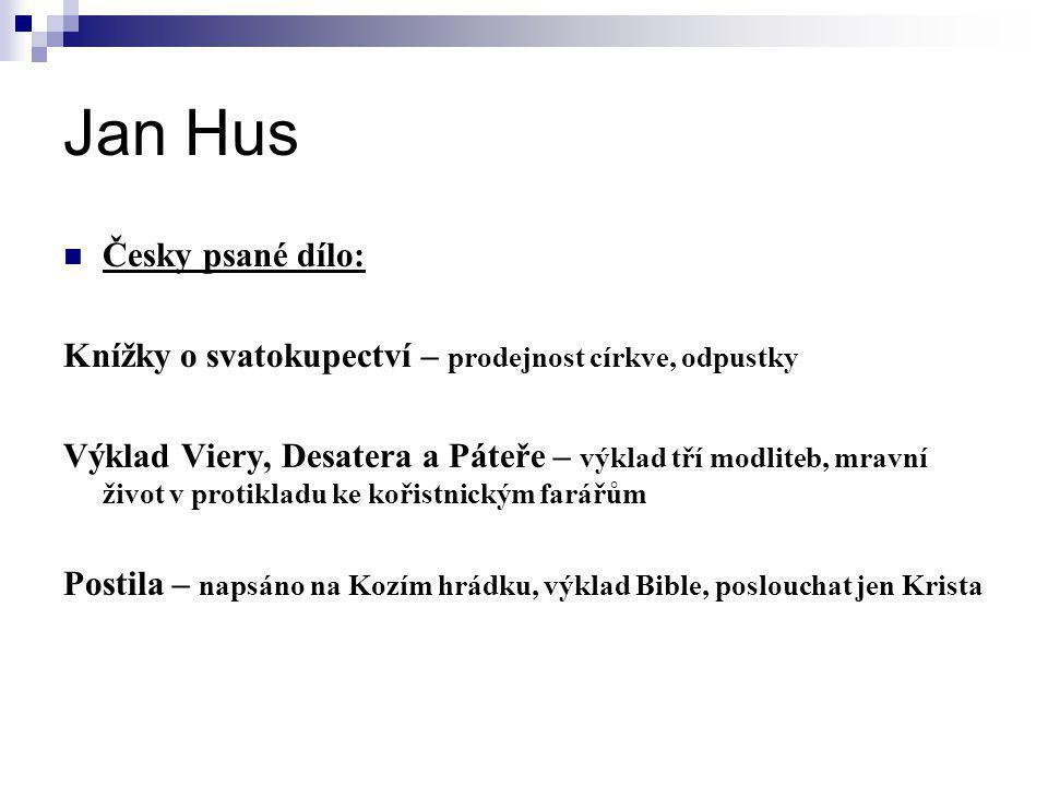 Jan Hus Česky psané dílo: