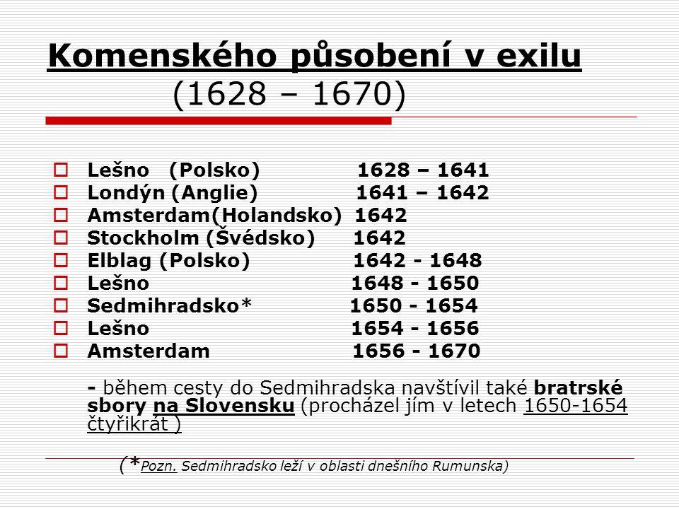 Komenského působení v exilu (1628 – 1670)