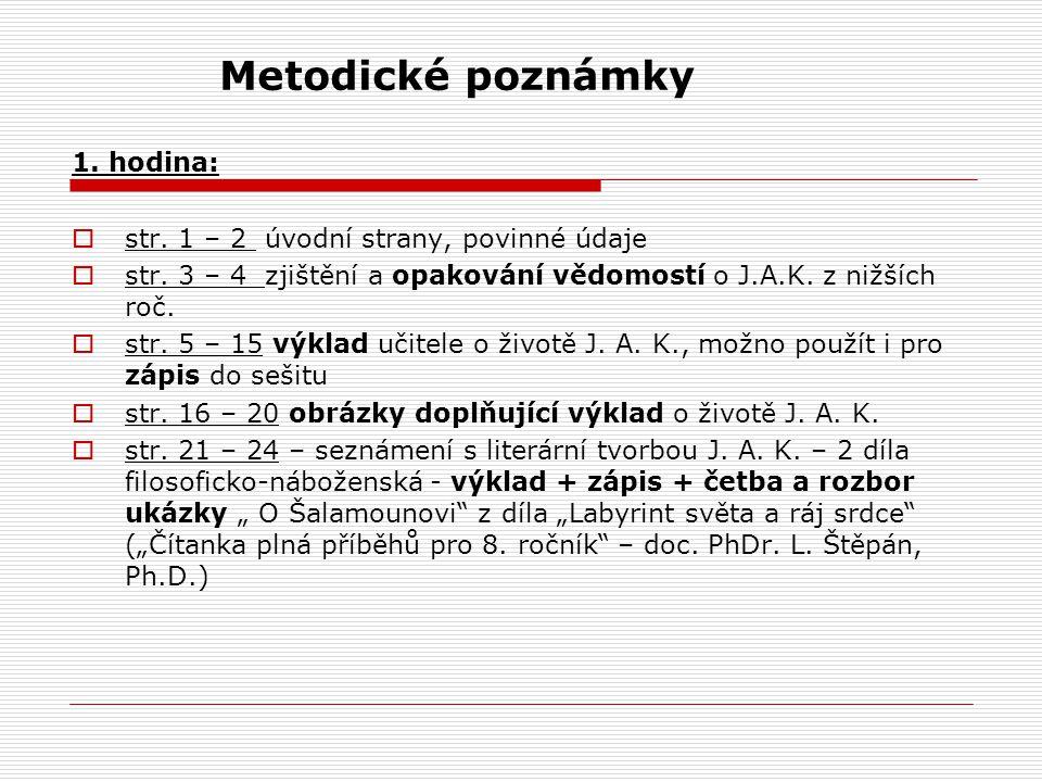 Metodické poznámky 1. hodina: str. 1 – 2 úvodní strany, povinné údaje