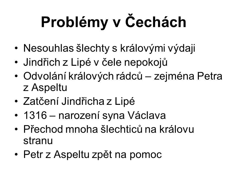 Problémy v Čechách Nesouhlas šlechty s královými výdaji