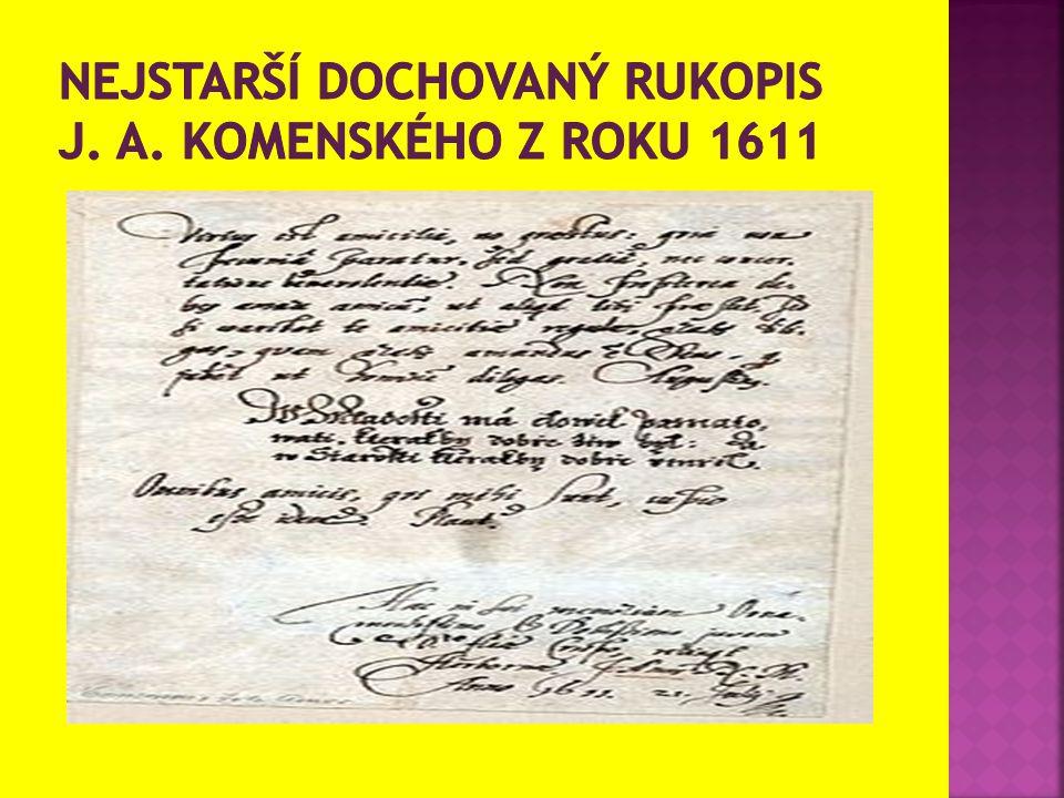 Nejstarší dochovaný rukopis J. A. Komenského z roku 1611