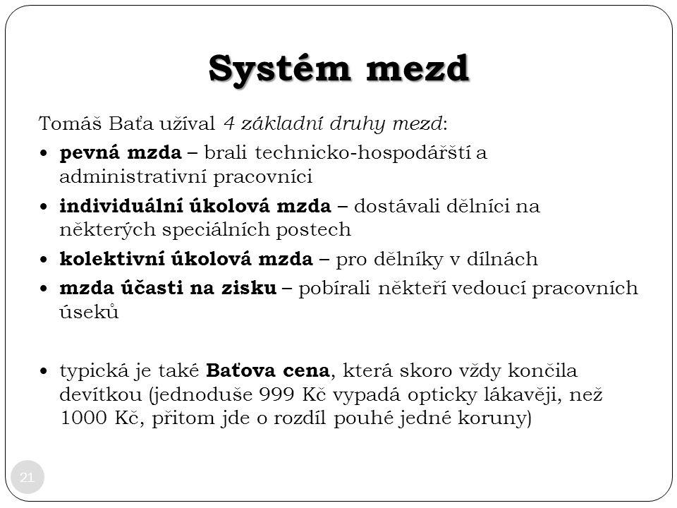 Systém mezd Tomáš Baťa užíval 4 základní druhy mezd: