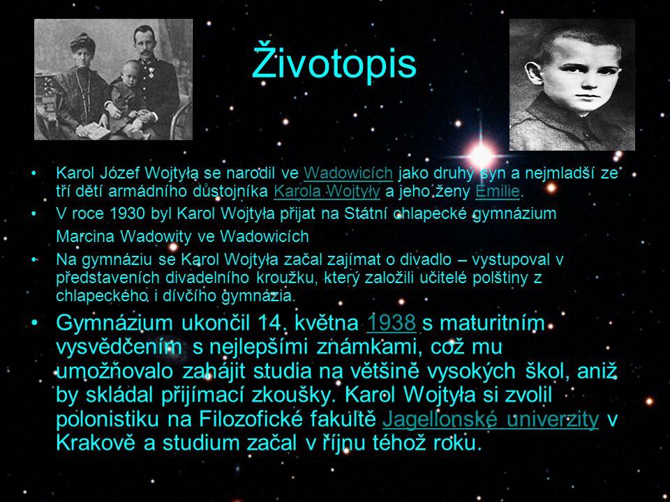 Životopis Karol Józef Wojtyła se narodil ve Wadowicích jako druhý syn a nejmladší ze tří dětí armádního důstojníka Karola Wojtyły a jeho ženy Emilie.