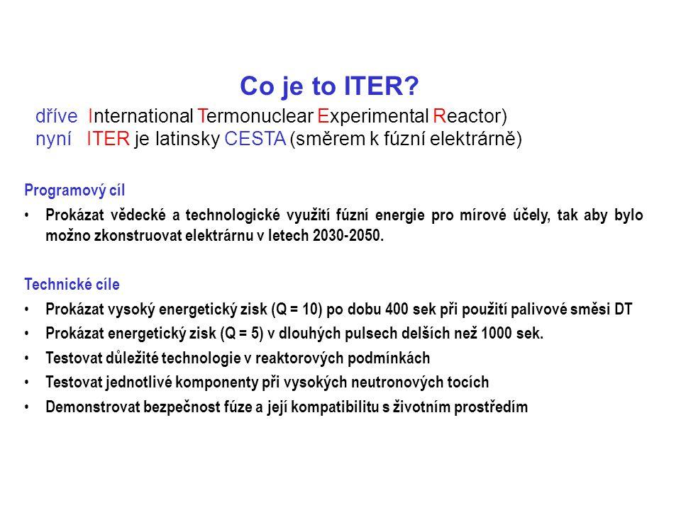 Co je to ITER dříve International Termonuclear Experimental Reactor) nyní ITER je latinsky CESTA (směrem k fúzní elektrárně)
