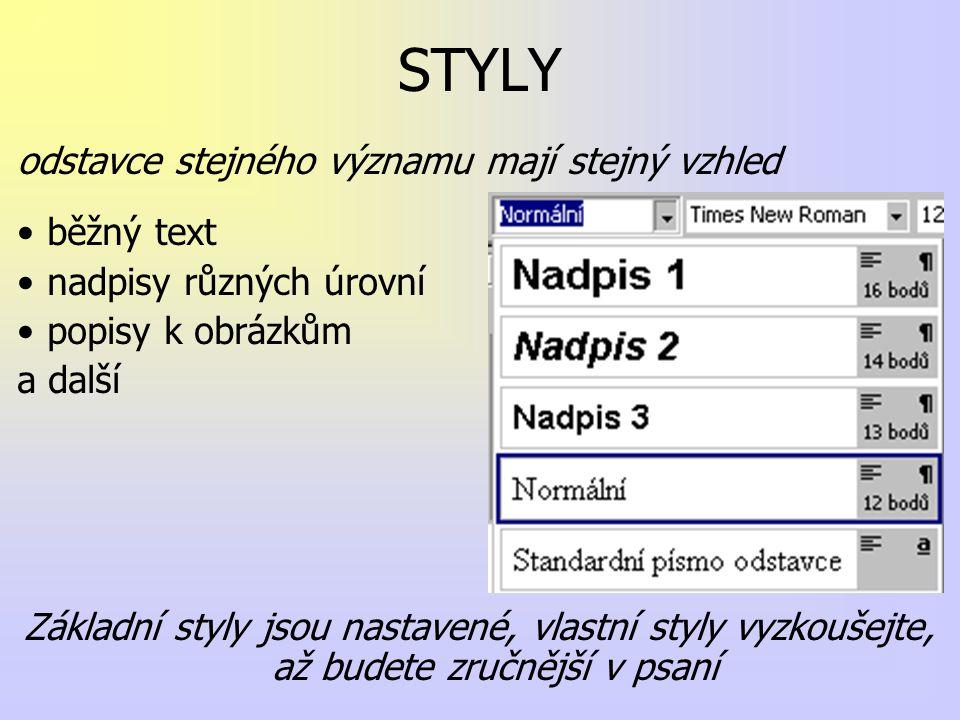 STYLY odstavce stejného významu mají stejný vzhled běžný text