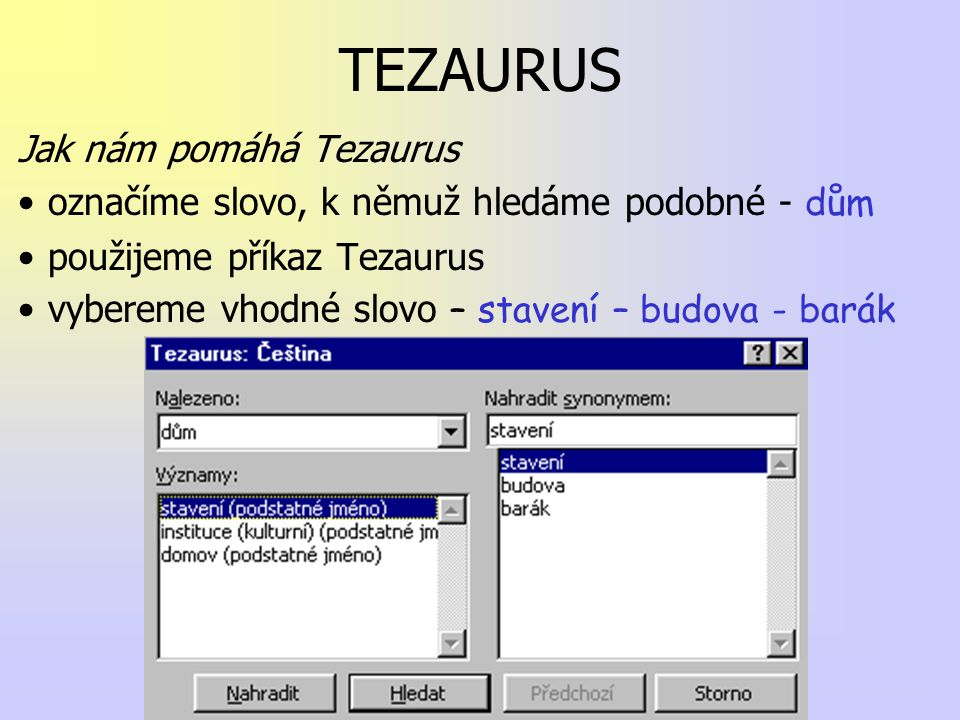 TEZAURUS Jak nám pomáhá Tezaurus